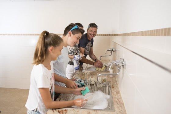 Dishing washing in the sanitary facilities
