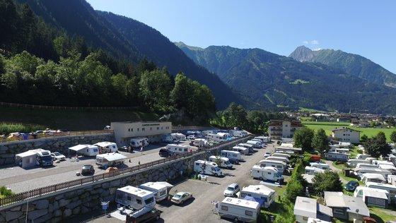 Panoramic campsites in summer